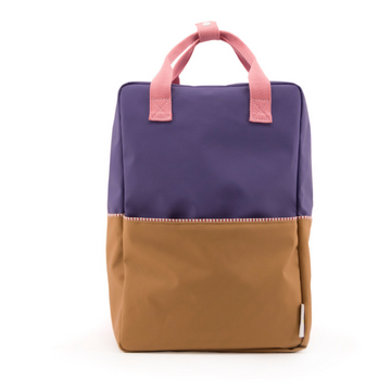 sticky lemons large color block backpack purple, gold, and pink