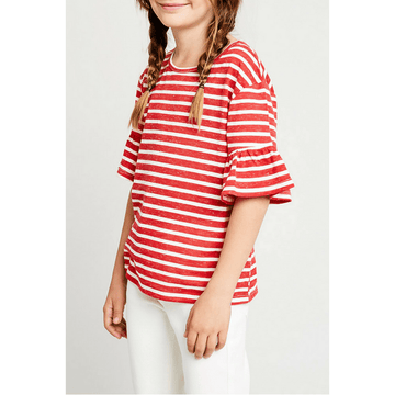 stripe ruffle sleeve tee for tween girls