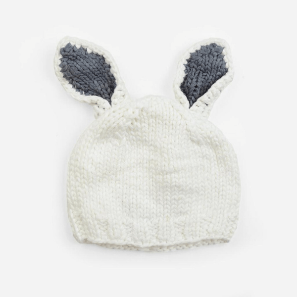 the blueberry hill bamboo bailey bunny knit hat white and grey