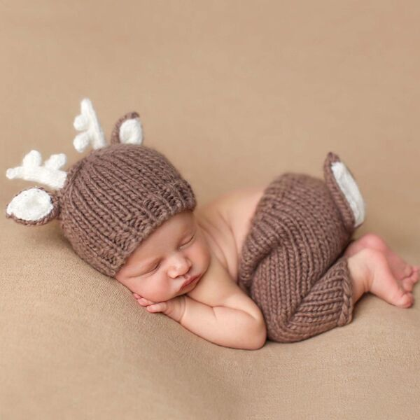the blueberry hill hartley deer newborn knit set for baby boys and girls