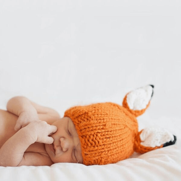 the blueberry hill rusty fox knit hat for baby boys and girls