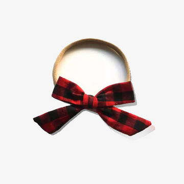 limited edition tiny red plaid bow headband