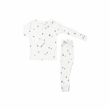 trees pajama set, ivory
