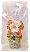 Blooming,Vegan Gift Basket filled with tasty treats in a keepsake tin.