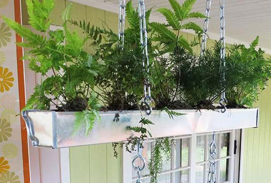 hanging plant repurposed gutters