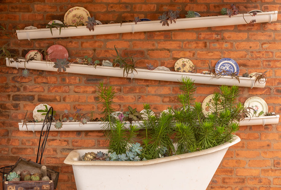 garden decoration repurposed gutters