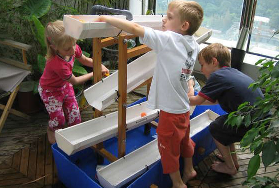 kids play area repurposed gutters