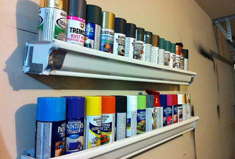 spray paint can holder repurposed gutters