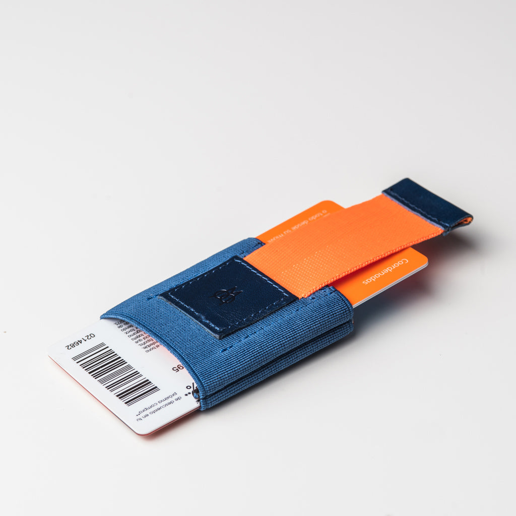 Cartera Minimalista Naranja y Azul | The Easy Slim Wallet | Navy Cheek