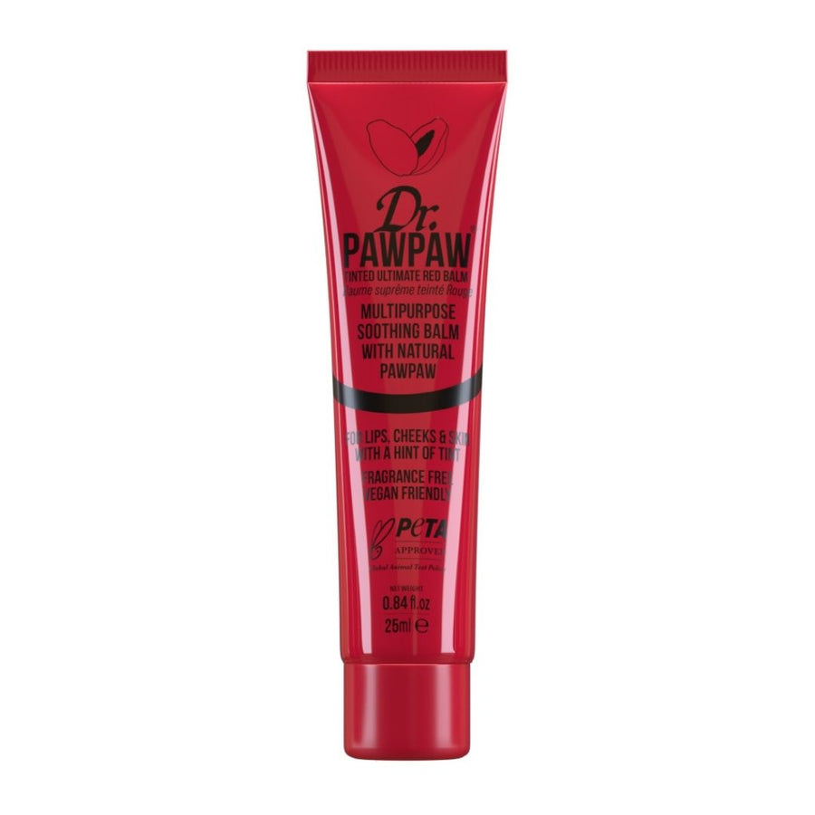 Dr PawPaw ultimate Red Balm provides moisture to lips with a hint of tint. Adds a natural glow to cheeks. A tinted balm full of pawpaw, aloe vera and olive oil. Cruelty Free & vegan! 25ml