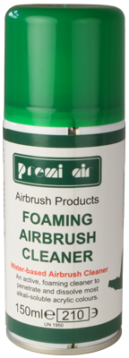 Premi Foaming Airbrush Cleaner is a highly recommended end-of-session airbrush cleaner for extra thorough cleaning away of water-based products, such as alkali soluble acrylics.  You can use the straw to direct the aerosol spray at the airbrush nozzle and front parts of your airbrush, up into where the bottle attaches on a bottom-feed airbrush or down into the cup of a gravity feed airbrush. The cleaner foams up to thoroughly get into all of the parts inside. Then spray through with warm water.