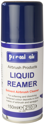Premi Air Liquid Reamer is a highly recommended end-of-session airbrush cleaner for extra thorough cleaning away of solvent-based and oil-based products.  You can use the straw to direct the aerosol spray at the airbrush nozzle and front parts of your airbrush, up into where the bottle attaches on a bottom-feed airbrush or down into the cup of a gravity feed airbrush. The cleaner soften and dissolves hardened paint deposits. Then flush through with your usual thinners or cleaner.