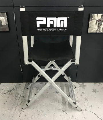 PAM Make Up Chair seat with double height, 65cm and 75cm, Height is Adjustable for Hair and Makeup.  It comes with black cordura covers and wooden footrest.Ultra-Lightweight for easy transportation, very stable, strong and comfortable.  Finish: anodized silver Dimension of the seat: 440x510mm.