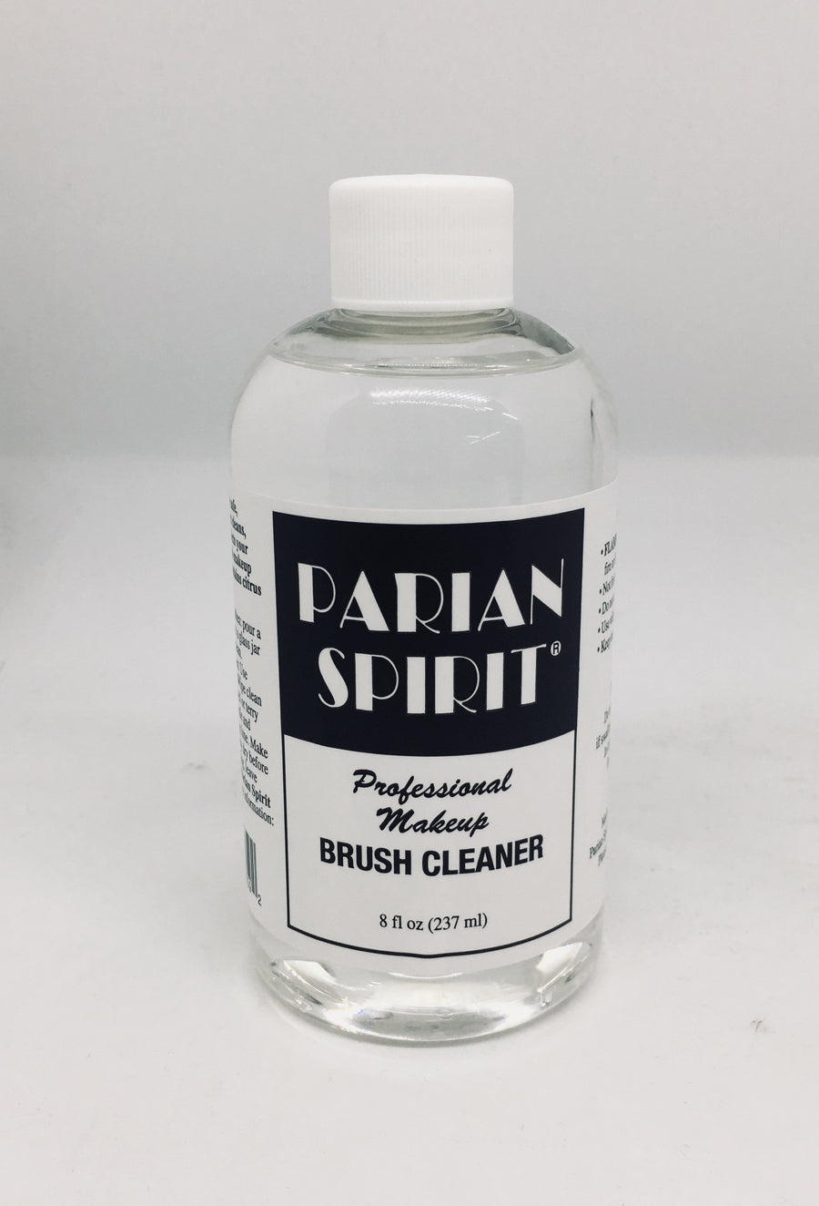Parian Spirit- Professional Makeup Brush Cleaner  A real make up Artists favourite-cleans and conditions brushes with a natural citrus scent. 8fl oz/237ml  !!!!! This product is deemed 'hazardous product' for overseas. Please telephone shop to enquire about overseas delivery!!!!!