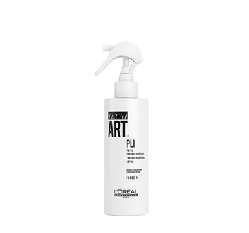 The TECNI.ART Pli Shaper by L'Oréal Professionnel is a heat-activated spray that gives shape, and  memory to the hair.  Pli can also be used as a styling primer to add body and discipline to the look, while keeping a soft texture and natural feel.   HOW TO USE:  Spray liberally all over towel-dried hair. When blowdrying,  lift the roots as you blow-dry or using rollers for added volume. Style hair with a hot tool to build waves and curls.   HAIRSTYLE:  Wavy or souple blowdries, wave-set styles.