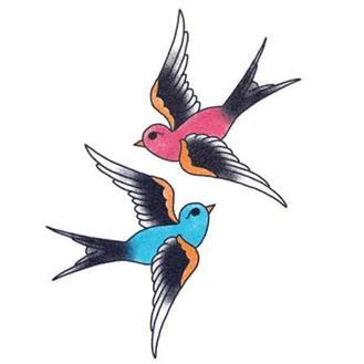 Tattooed Now! Blue and Red Swallow - Precious About Make-up, (product_title),Tattoo, Tattooed Now!