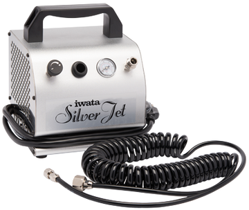 Iwata Studio Series compressors are powerful, compact and quiet. With oil-less piston motors, they are low maintenance and affordably priced. The Iwata Studio Series are the perfect companion to any of the Iwata airbrushes. Iwata Silver Jet Compressor Applications: The Iwata Silver Jet is the perfect companion to fine Iwata airbrushes, such as for nail art or cake decorating, or for working at low pressures, such as for cosmetics, tanning or body art.
