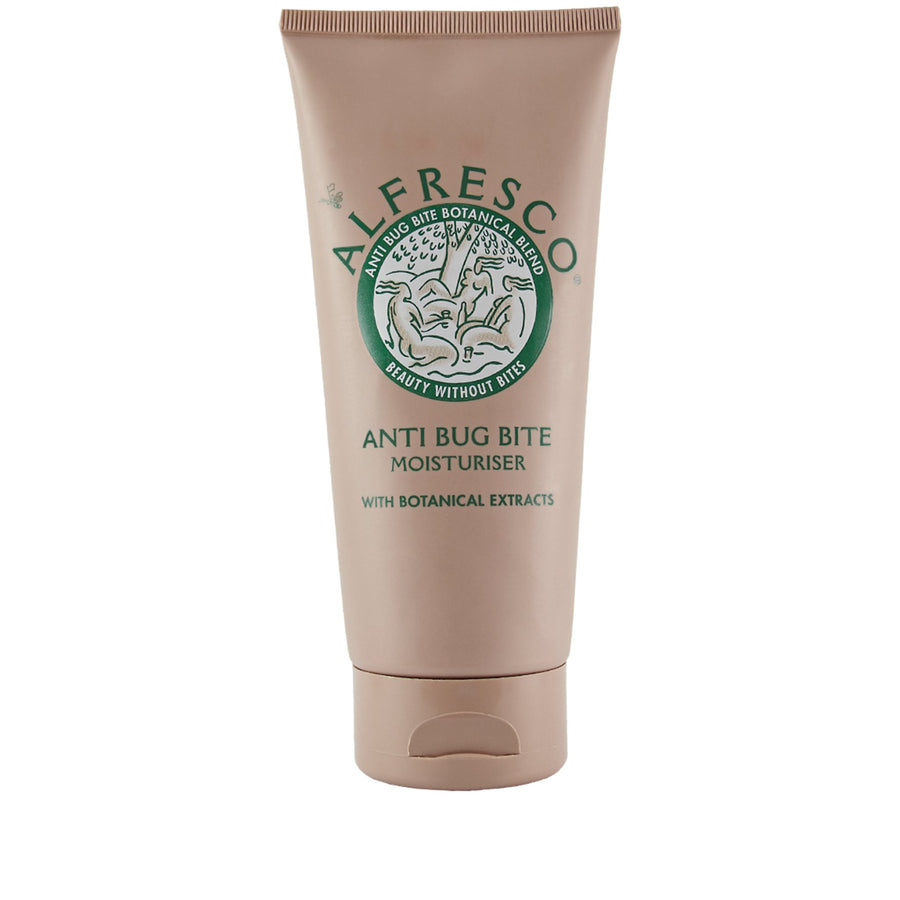 Alfresco - Anti Bug Bite Moisturiser  Anti-insect moisturizer with botanical extracts. Delightfully fragranced and gentle enough to use on the face! AS natural as can be.  Made in England, designed in London. Created and made in a medicinal garden founded in 1730.