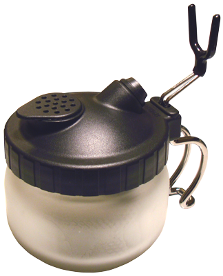 Airbrush Cleaning Pot- When flushing through your airbrush you can prevent the spray from going over yourself and your work area by containing the spray in this cleaning station - and it also serves as a handy airbrush holder.  Its features include: