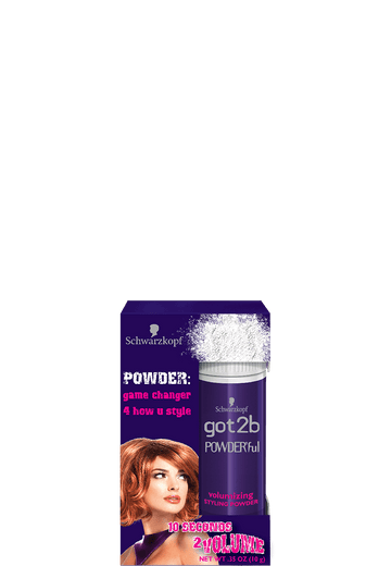 Got2be POWDER'ful Volumizing Styling Powder  - Get volume in an instant and root boost  - Root Lift, texture and control hair  -The powder disappears but still works  -Easy to apply and long-lasting  -Instant Volume