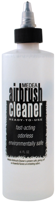 Medea Airbrush Cleaner is a high strength cleaner for acrylics, water-based products, gouache, inks or dyes. It is ready to use and environmentally safe.  Uses:  Cleans airbrushes and synthetic or natural-haired paintbrushes. Spray through the airbrush between colours and at the end of the day, then rinse through with water. Soak parts in the cleaner for an hour or overnight to remove build up of paint. Use in ultrasonic cleaners.