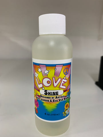 Created by Oscar nominated artists Love Larson and Eva Von Bahr.   Apply Love Shine to any makeup to add a satin sheen that mimics the natural oil shine of real skin.   Directions: Love Shine can be sprayed, brushed or stipples where needed.