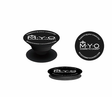 M.Y.O Case Grip  Attach this to your M.Y.O Cosmetic Case, you can grab, grip and go with extra security while using your palette. Simply press on to secure. Ideal when on set and balancing many products.  In addition, you could apply this easy grip application on any palette to secure more grip.