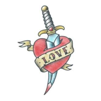 Tattooed Now! Loveheart with Dagger - Precious About Make-up, (product_title),Tattoo, Tattooed Now!