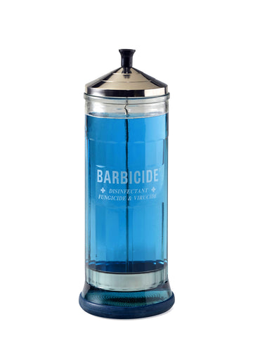 Barbicide Large Jar - Iconic symbol for safety and cleanliness in any workspace - barbershop, salon, makeup truck. Perfect for disinfecting tools, combs, files.  Just pour in Barbicide Disinfectant Solution and it cleans your tools in-between clients/actors. Has an internal cafetiere-like sieve so you can retrieve your tools without putting your hands into the jar.