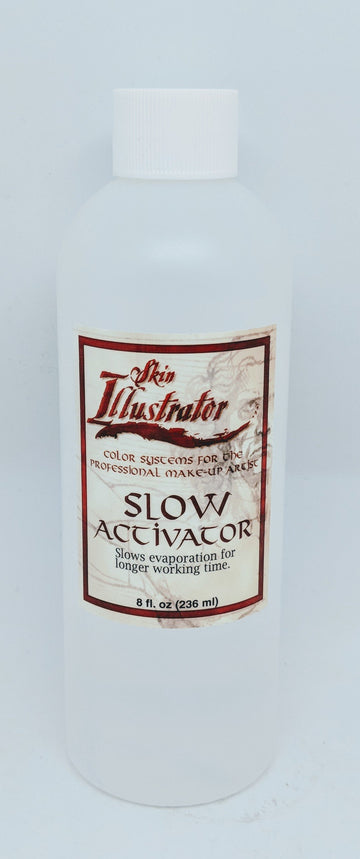 PPI Skin Illustrator Slow Activator is the special proprietary blend of ethanol and isopropyl alcohol and is used to activate all of the Skin Illustrator palettes. It is NOT 99% alcohol. Why use this and not IPA? While you can use 99% alcohol/IPA, Slow Activator has a more mild fragrance and is much easier on the senses for your actor, the colour lasts longer on the skin too. Slow Activator activates the make-up pigments in the Palettes!