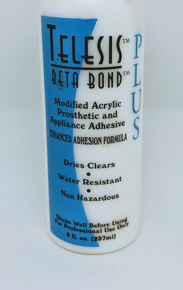 PPI Telesis Beta Bond Plus - Stronger tackier version of Beta Bond. Beta bond plus is a good absorber of powder and dries clear, its very pliable. Can be removed with Beta Solv. Non-flammable. Top Tip: Paint on prosthetic piece AND the skin for a super strong hold Telesis adhesives and Thinners have proven to be both safe and highly effective in the medical, makeup and cosmetic industries. All products have been tested by independent labs for dermal irritation and inhalation levels.