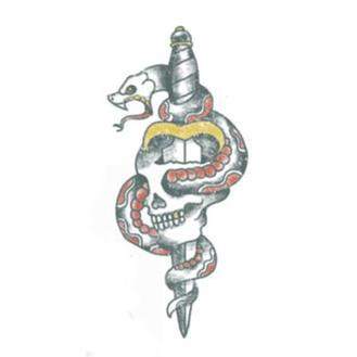 Tattooed Now! Traditional Skull and Dagger with Snake - Precious About Make-up