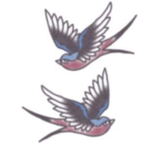 Tattooed Now! Vintage Blue & Red Swallows