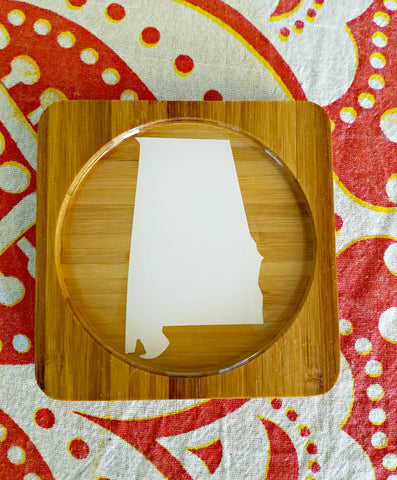 Alabama (ANY STATE shape available!) Square Bamboo Coasters, Set of Four - CUSTOMIZE- Kitchen Decor, Barware, gift idea, Stocking Stuffer