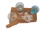 Connecticut SHOT GLASS Flight Board - bar, custom flight board, whiskey flight board, beer flight board