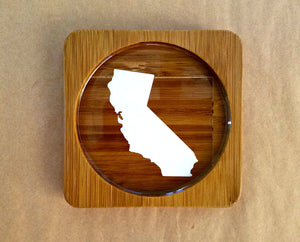 California (ANY STATE shape available!) Square Bamboo Coasters, Set of Four - CUSTOMIZE- Kitchen Decor, Barware, gift idea, Stocking Stuffer