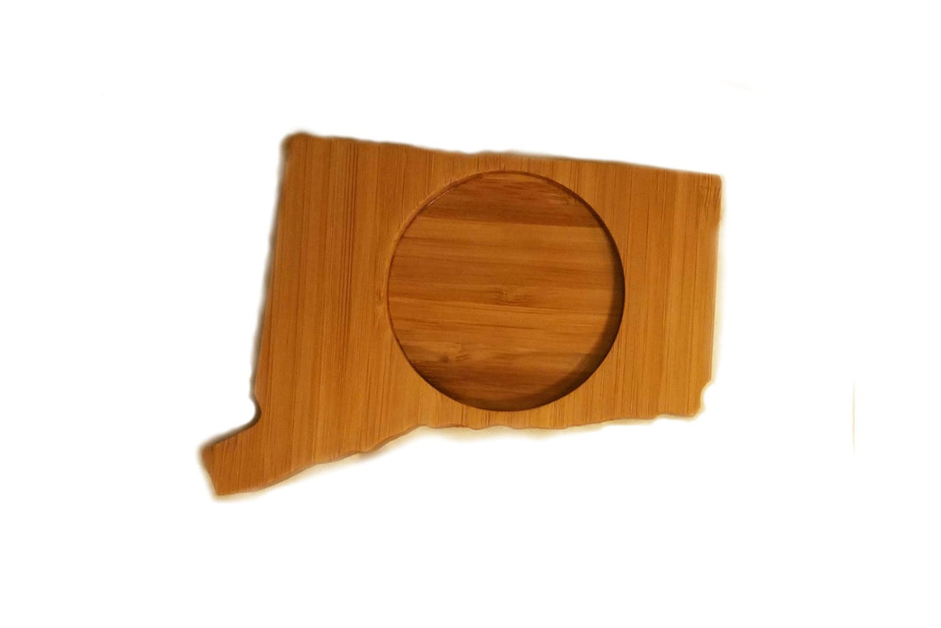 Connecticut State Shaped Bamboo Coasters (set of four)