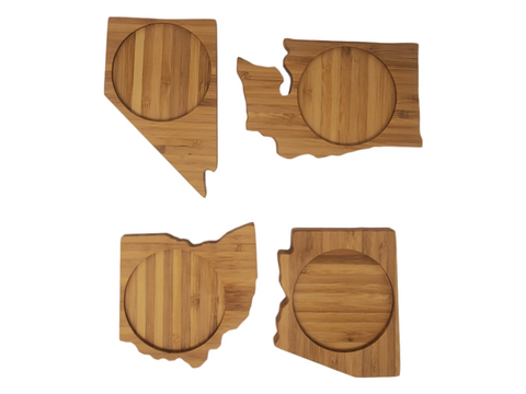 Custom Set of FOUR State Shape Bamboo Coasters