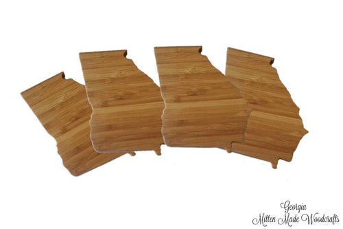 Georgia State Shaped Bamboo Coasters (set of four)