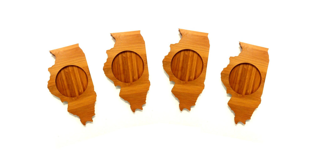 Illinois State Shaped Bamboo Coasters (set of four)