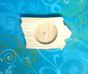 Iowa tate Shaped Bamboo Coasters (set of four)