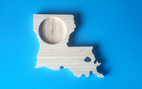 Louisiana State Shaped Bamboo Coasters (set of four)