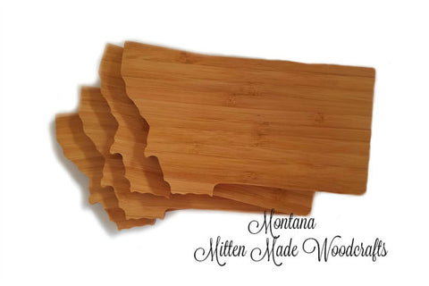 Montana State Shaped Bamboo Coasters (set of four)
