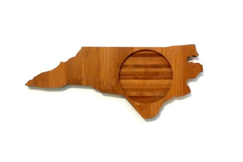 North Carolina State Shaped Bamboo Coasters (set of four)