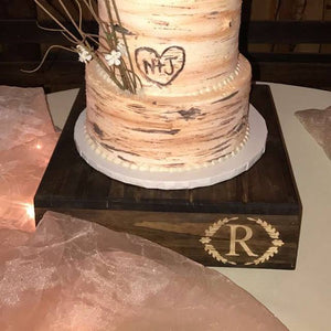 """O"" INITIAL cake stand, Wedding Cake Stand, Reclaimed wood cake stand,Personalized cake stand, Rustic Cake Stand, Country Wedding Decor"