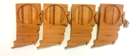 Rhode Island State Shaped Bamboo Coasters (set of four)