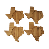 Texas State Shaped Bamboo Coasters (set of four), Table Coasters, Christmas Gift