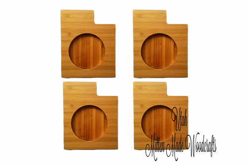 Utah State Shaped Bamboo Coasters (set of four)