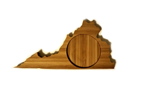 Virginia State Shaped Bamboo Coasters (set of four)