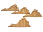 Virginia State Shaped Bamboo Coasters (set of four), Table Coasters